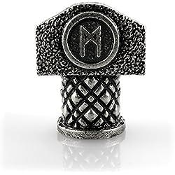 Cuenta con runa Mannaz en martillo de Thor, plateada