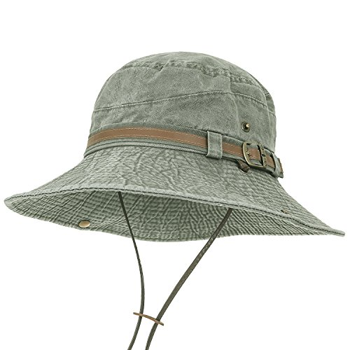 135c02fdf41 ililily Washed Cotton Vintage Hunting Fishing Camping Outdoor Boonie Bucket  Hat