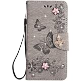 iPhone 6S Case [Free Tempered Glass Screen Protector],Mo-Beauty® Handmade Bling Sparkly Diamonds Gems Butterfly Design Wallet Case,Premium PU Leather Flip Wallet With Card Holder Slot Case Cover For Apple iPhone 6/6S (Grey)