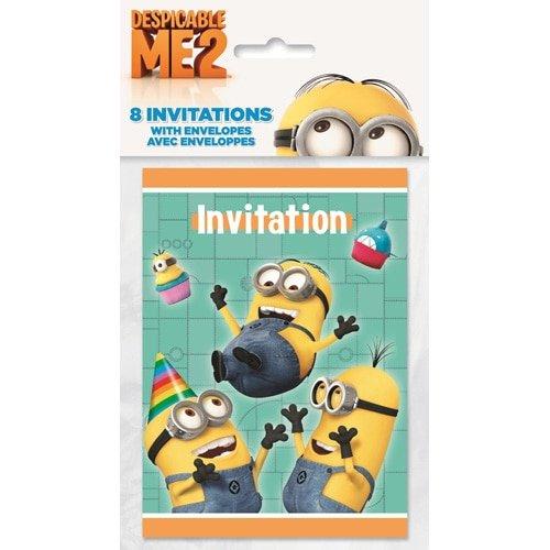 8 Einladungen Despicable Me 2 Minions Ich einfach unverbesserlich