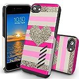 Coque iPhone 8 Orzly Grip-Pro Case Twin Layer - Coque Double Couche pour iPhone 8 / iPhone 7 – Une Double Couche pour Protection Maximale - Durable, Fine et Légère - Superbe Prise en main - COEUR 80's