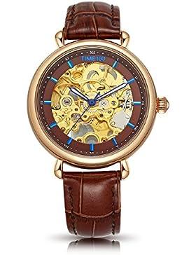 Time100 Damenuhr mechenische Skelett Uhr Automatik Leder Schwarz #W60156L.02A