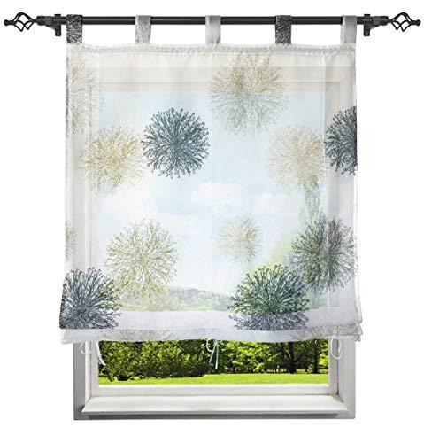 CURTAIN LAND Raffrollo mit Schön Luftig Druck Muster Rollos Voile Transparent Gardine Vorhang (BxH 140x150cm, Grau) (Vorhänge Land Küche)