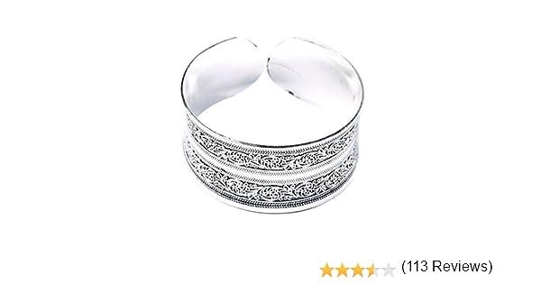 Bracelet Totem en argent tibétain sculpté Bracelet manchette fleur chanceuxMA