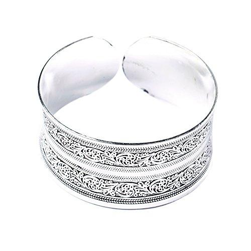 BODYA Classic Tibet Silber geschnitzt Glück Totem Blume Old Armreif gefüllt breit gravieren Manschette Armband