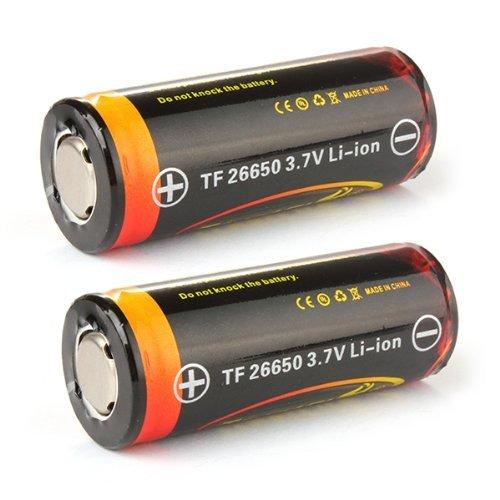 Sidiou Group 26650 agli ioni di litio protetta 3.7V 4800mAh batteria ricaricabile per la torcia torcia a LED (un set di 2 pezzi)