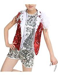 f03be970d2fb4 Yudesun Ropa Danza Niña Vestidos - Niños Niño Tap Dance Jazz Disfraces  Lentejuelas Trajes Conjuntos Chaleco