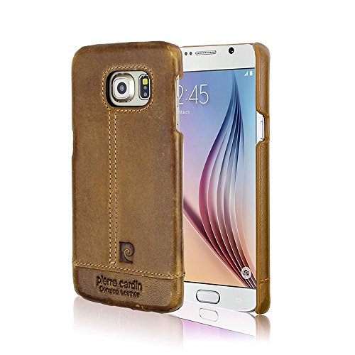 Pierre Cardin 100% Genuine Real Leather Back Case Cover For Samsung Galaxy S6 - Brown