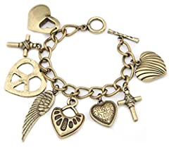 Idea Regalo - Bracciale stile vintage con charm con vari ciondoli cuore ala d'angelo piuma ala croce effetto oro di DesiDo®