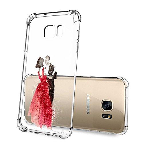 Samsung Galaxy S6 Hülle, Air-Cushion Shock Absorption Kratzfest Transparent Bumper Schutzhülle TPU Silikon Flexibles Case Drop Schutz Cover für Samsung Galaxy S6 03
