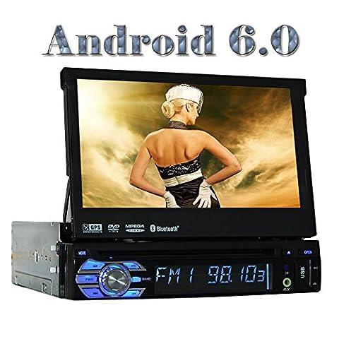 Eincar Android 6.0 Universal Simple Din Car Stereo 1 Din Head Unité GPS Sat Navigation avec le système multimédia de soutien DAB +, Téléphone Mirroring, WiFi 3G 4G, radio RDS, 64GB SD USB, Bluetooth, OBD, commande au volant, caisson de basses (réglable Angle de visualisation)