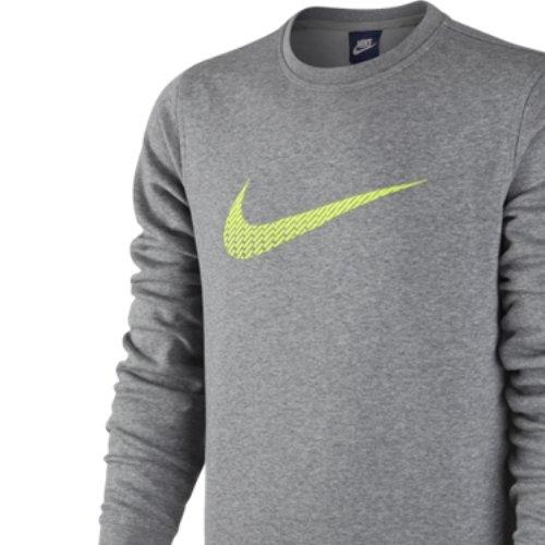 Nike Club FLC CREW SWOOSH + T-Shirt Unisex M Grau/Gelb