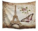 A.Monamour Wanddekor Wandteppiche Braun Gesprenkelt Hintergründe Blumen Schmetterling Paris Eiffelturm Postkarte Mit Stempel Druck Stoff Tapisserie Wand Hängende Dekore Für Schlafzimmer 153X102cm