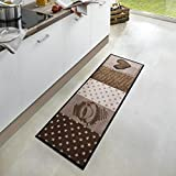 Zala Living Coffee Heart Waschbarer Küchenläufer, Polyamid, Braun, 150 x 50 x 0.5 cm
