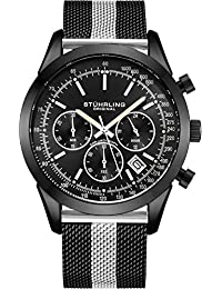 Stuhrling Original Men's Chronograph Watch, Stainless Steel Mesh Band and Water Resistant to 100 M. (Black/Silver)