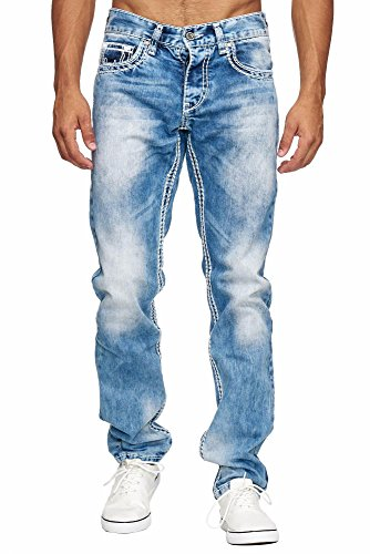 Amica MEGASTYL Herren Männer Jeans Basic Streetwear Dicke Nähte Regular Fit, Größe:W33 / L32, Farbe:Light Blue