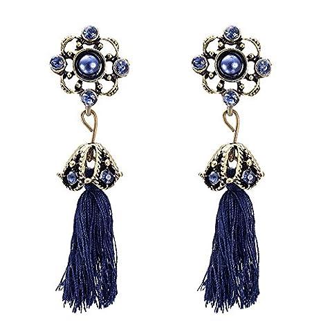 Bohemia Blue Flower Pearl Cubic Zircon CZ Long Tassel Fringe Dangle Earring Ear Stud For Women Girl Mother Bronze