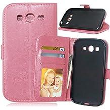 FUBAODA Funda de piel para Galaxy Grand Neo Plus i9060, [Cable Libre] Premium en Dorado PU Cuero Funda Folio Carcasa, PU Billetera Folio Carcasa para Samsung Galaxy Grand Neo Plus i9060 (Rosa)