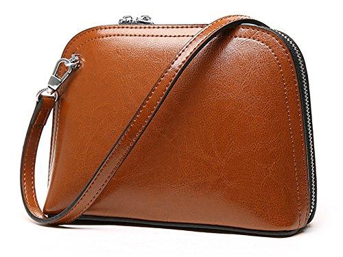 Xinmaoyuan Damen Handtaschen Leder Tasche Mini Sommer weiblich Tasche Einfache Vintage Öl Wachs Leder Messenger Bag weiblichen Shell, Grau Braun