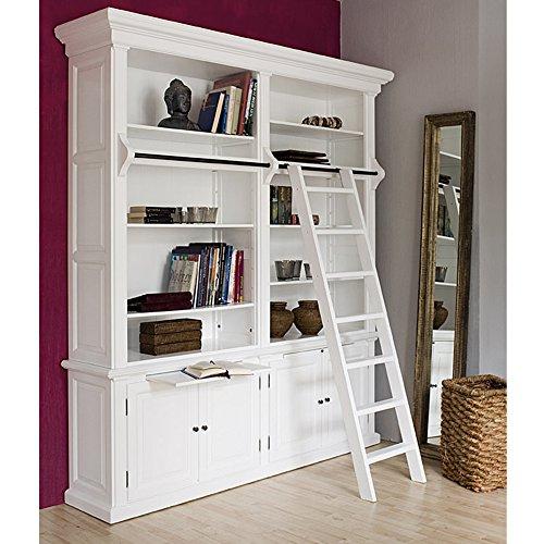 2 Tür Eiche Bücherschrank (Bücherregal Bücherschrank Washington 2er handgefertigtes Holz Regal weiß)