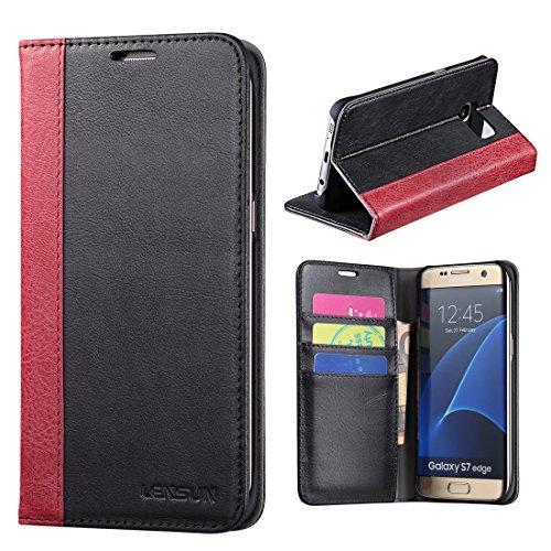 efe8a9beaf6 Funda Galaxy S7 Edge, Lensun Funda de Cuero Genuino para Samsung Galaxy S7  Edge 5