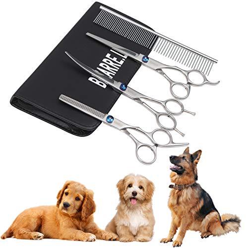 BIZARRE.LY 4er-Set Fellpflege Scheren Haustier Pflegeset für Hunde und Katzen - Edelstahl Hunde Haarschere Hundescheren mit Effilierschere, Gebogene und Schneideschere,Kamm mit Weiche Ledertasche -