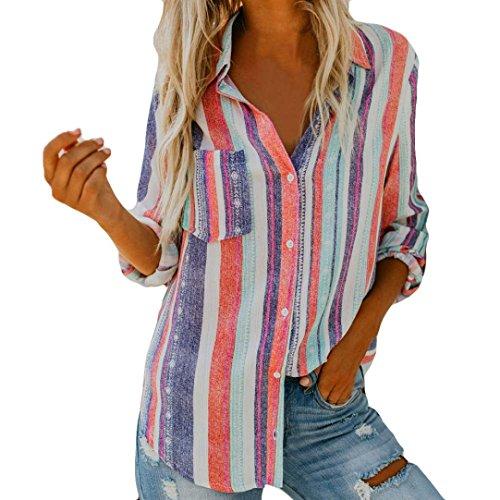 ❤️ Blusa Mujeres Raya,Camiseta con Estampado de Manga Larga, Blusa sin Mangas Absolute
