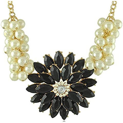 SaySure - Gold Plated Flower Choker Necklace With Imitation Pearl Jewelry