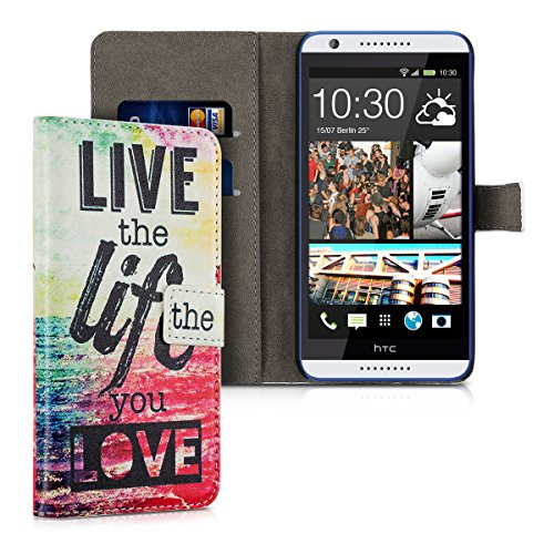 kwmobile Wallet case Custodia a portafoglio per HTC Desire 820 - Custodia flip cover in Design Live the Life con scompartimento tessere e funzione supporto in multicolore fucsia blu