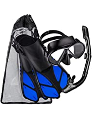 Schnorchel-Set mit Gehärtetes Glas Tauchmaske, Ultra Dry Schnorchel und Tauchflosse, Ein Netzbeutel inklusive, Größe S (Passt für Größe S und Größe M) –Schwarz
