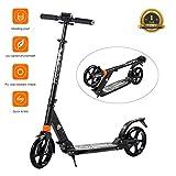 Windwalker Big Wheel Scooter 200 mm Faltbar Höhenverstellbar Cityroller Klappbar Tretroller Aluminium für Kinder Erwachsene bis 100kg Schwarz/ Weiß