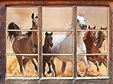 Western Pferde in Wüste mit Fohlen Fenster 3D-Wandsticker Format: 62x42cm Wanddekoration 3D-Wandaufkleber Wandtattoo
