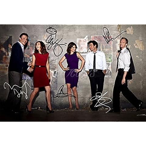 Foto firmada con los 5 protagonistas de Cómo conocí a vuestra madre, formato A4 (30,5 x 20,3 cm)