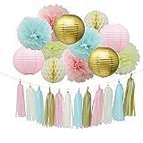 Bluelliant 32 Pezzi Decorazioni Feste Addobbi Festoni Compleanno Carta da Appendere Oro Rosa Giallo Azzurro per Adulti Bambini Uomo Donna
