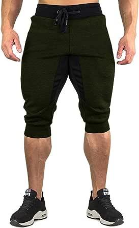 TACVASEN Men's Cotton Casual Shorts 3/4 Joggers Sports Shorts Elastic Waist Below Knee Short with Zip Pockets