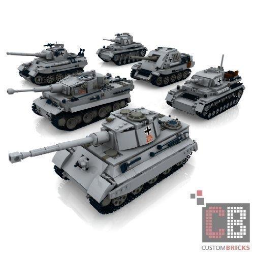 Preisvergleich Produktbild CUSTOM Bauanleitung KEINE Steine 6 WW2 Panzer King Tiger Panther Wehrmacht Tank aus LEGO® Steinen auf ein 1 GB USB Stick