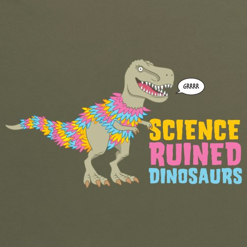 Science Ruined Dinosaurs T-shirt, Uomo Verde oliva