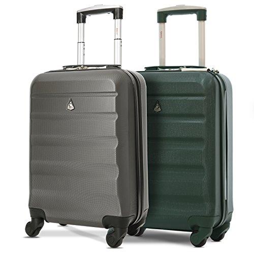Aerolite Set de 2 ABS Bagage Cabine à Main Valise Rigide Léger 4 Roulettes (Vert foncé + Charbon)