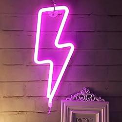 Neonlicht, LED Lightning Sign geformt Dekor Licht, Wand-Dekor für Weihnachten, Geburtstagsfeier, Kinderzimmer, Wohnzimmer, Hochzeit Party Decor (Rosa)