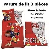 SAM LE POMPIER - Parure de lit (3pcs) 100% Coton - Housse de Couette (140x200) + Taie d'Oreiller (63x63) + Drap housse (90x190) - Fireman Sam Crew