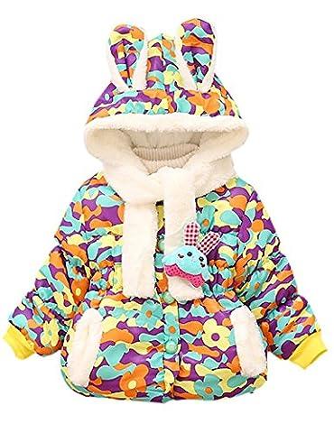 Baby Girls Winter Warm Coats Little Hand Cute Rabbit Ears Hooded Toddler Fleece Jackets Outerwear