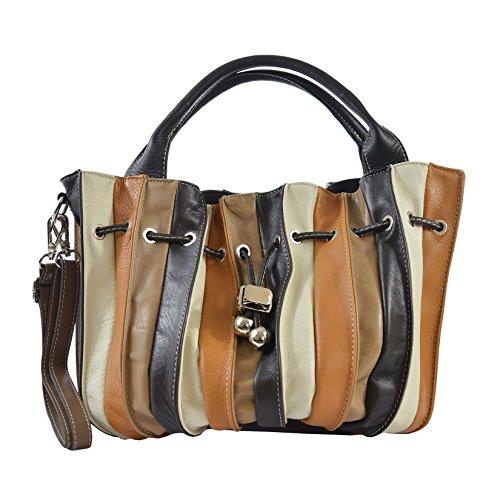 CTM Sac à main, sac fourre-tout des femmes en cuir véritable made in Italy 28x27x28 Cm