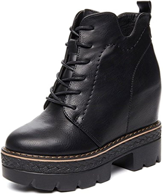 KPHY Pretty/Zapatos de Mujer/Winter Warm British Zapatos Casuales Retro Alto Espesor con Encaje Y Zapatos Altos.Treinta...