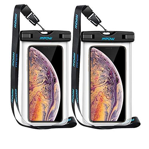 Mpow Wasserdichte Handyhülle 2 Stücke, Handytasche Wasserdicht, Staubdichte Schutzhülle für iPhone X/XR/XS/XS MAX/8/7/6/6s/6splus/Galaxy S9/S8/S7/S7edge/S6/S Huawei P10/P8/P9 usw. bis 6,5 Zoll