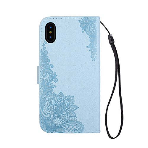 JIALUN-Telefon Fall Phenix Blumen Prägemuster Faux Leder Horiontal Folio Stand Case mit Lanyard Card Slots für iPhone X ( Color : Black ) Blue