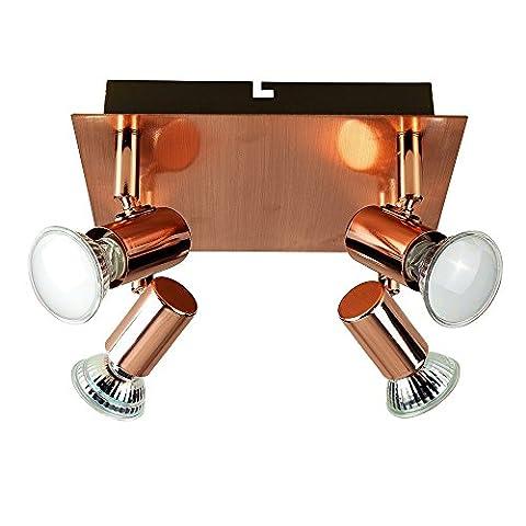 Modern Square Copper Effect 4 Way Adjustable GU10 Ceiling Spotlight