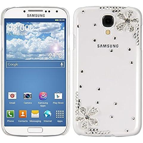 kwmobile Custodia di lusso in strass per Samsung Galaxy S4 Design fiore strass angolo argento trasparente