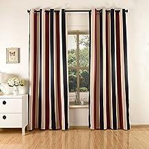 2x Cortinas Opacas Estampadas para Ventanas de Habitación Dormitorios Salón, 140x240cm, 210g/m² 1,75kg (Rayas Verticales Tricolores)