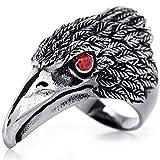 OIDEA Edelstahl Falke Adler Ring für Männer, Herren Biker Engagement Ehering Schwarz Silber Ringgrößen 71 (22.6) (67 (21.3))