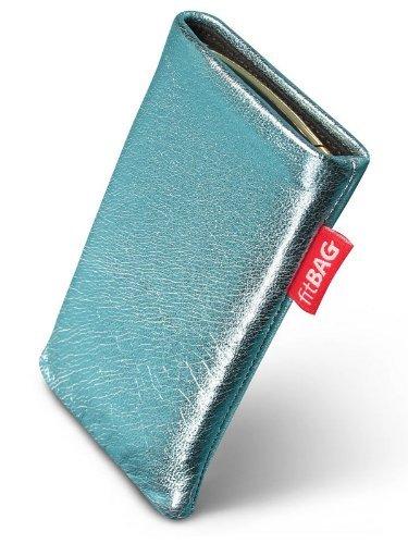 fitBAG Groove Türkis Handytasche Tasche aus feinem Folienleder Echtleder mit Microfaserinnenfutter für Samsung SGH-J150